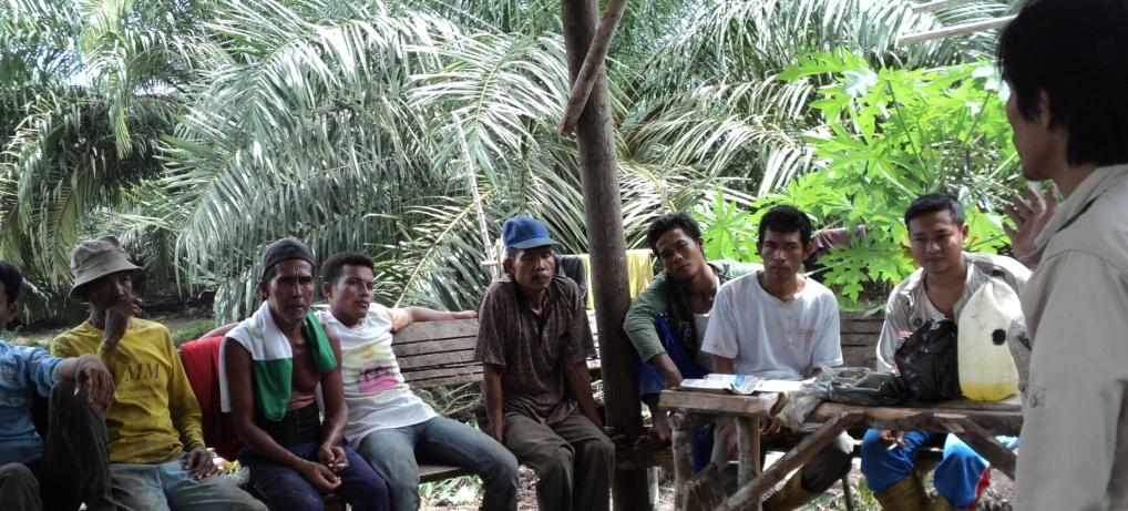 Jay Jasmi sedang memberi pelatihan guna peningkatan kapasitas petani dalam pengelolaan kebun kelapa sawit