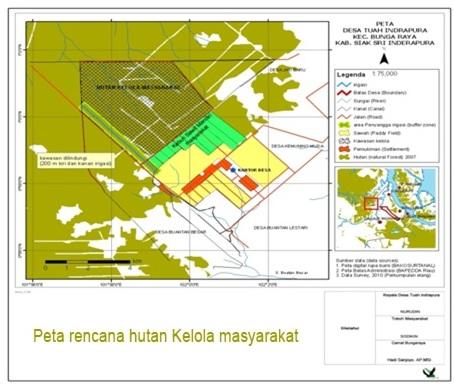 Peta rencana hutan kelola masyarakat Desa Tuah Indrapura